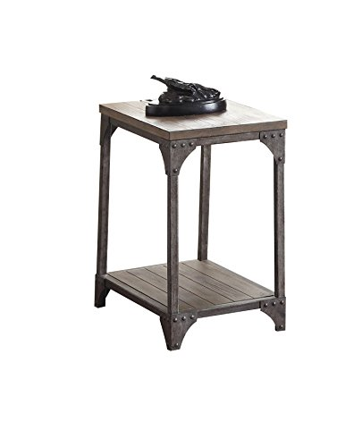 (Acme Furniture 81447 Gorden End Table, Weathered Oak & Antique Silver)