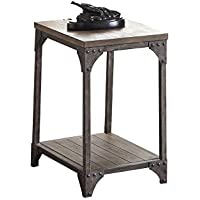 ACME Furniture 81447 Gorden End Table, Weathered Oak & Antique Silver