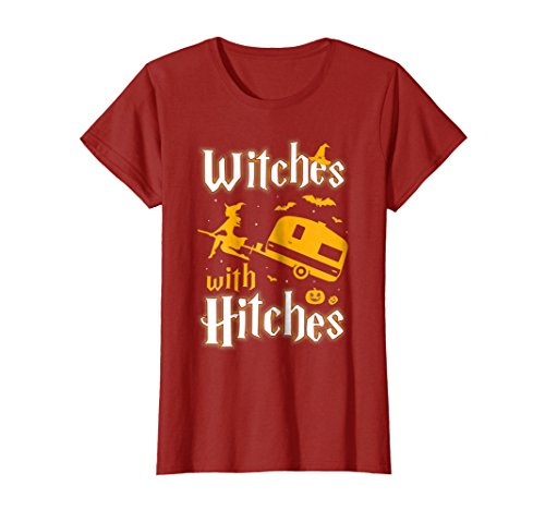 Womens Witches With Hitches Funny Camping Halloween T-Shirt