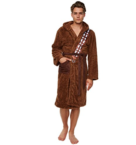 Mens Brown Fleece Chewbacca Star Wars Dressing Gown -