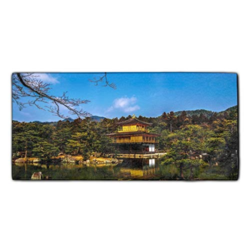 Kinkaku-ji Temples Kyoto Japan Custom Washcloths Face Towel Perfect Gifts, Extra Soft, Breathable, 11.8 × 27.5 Inches
