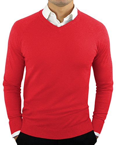 (Comfortably Collared Men's Perfect Slim Fit Lightweight Soft Fitted V-Neck Pullover Sweater, Medium, Red2)