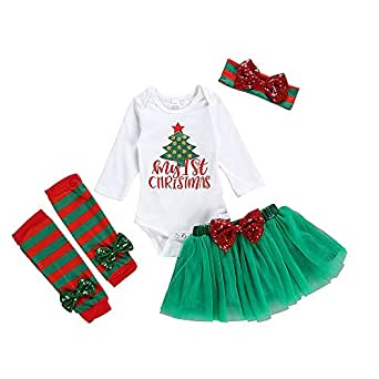 Vedext 4Pcs Newborn Baby Girl Clothes My 1st Christmas Bodysuit+Dot Tutu Skirt+Leg Warmers+Sequins Bow Headband Outfits Set (Green, 3-6 Months)