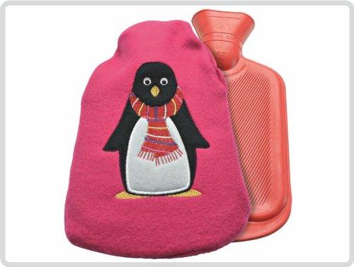Kinderwärmflasche Wärmflasche. ca 0,7 Liter mit Flauschbezug, Rot mit Pinguin-Motiv