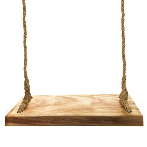 Natural Wood Tree Swing Seat, Kids Children Adult Backyard Outdoor Replacement Rope Wooden Swing Set