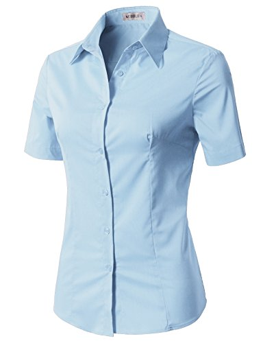 CLOVERY Women's Basic Stretchy Short Sleeve Slim Fit Button Down Collared Shirt SkyBlue XS