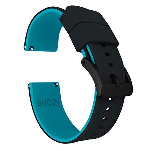 Barton Elite Silicone Watch Bands - Black Buckle Quick Release - Choose Strap Color & Width - Black/Aqua Blue 20mm ()