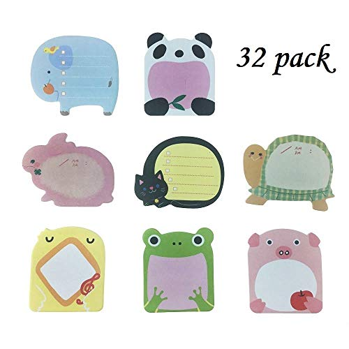 Sticky Notes- Zoo Cute Animals Self-Stick Removable Sticky Notes -32 Pads per Pack - 20 Sheets per Pad - per Pack 8 Animals Inside-80mm x 54 mm (32 Pack)
