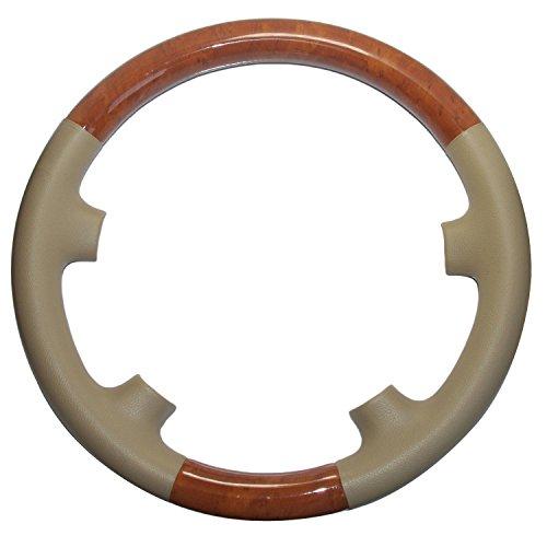 Pursuestar Tan Beige Leather Light Brown Wood Steering Wheel Protector Cover Cap for 2002-2006 Mercedes Benz W211 S211 E Class E200 E270 E300 E320 E400 E500 E55 AMG