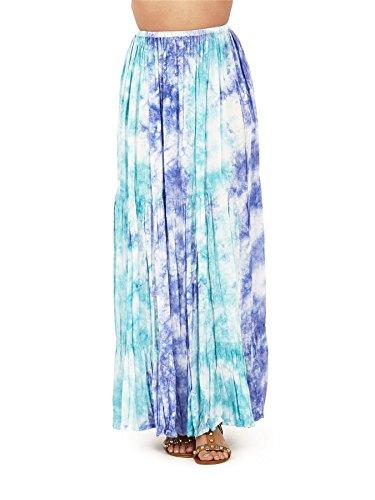 Falda Larga con Estilo Hawaiano para el Verano Tropical de Dama Pistachio Multicolor Azul Tie Dye