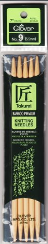 (Clover 72690 Bamboo Double Point Knitting Needles 7 in. 5-Pkg-Size 9)