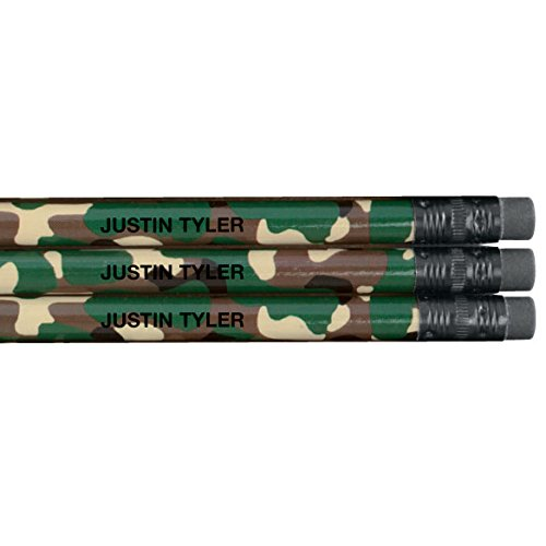 Personalized Pencils - Set of 12 - Perfect for Back to School - Many Designs to Choose From - Your Child's Name (Camouflage)