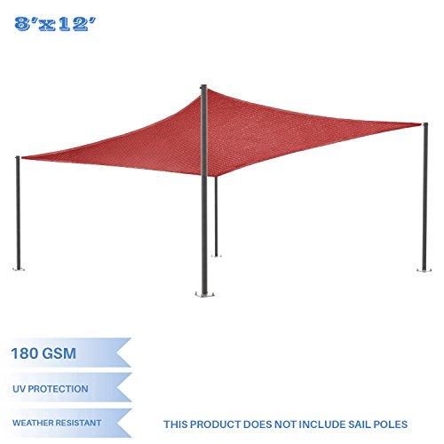 E K Sunrise 8 x 12 Red Rectangle Sun Shade Sail Outdoor Shade Cloth UV Block Fabric,Curve Edge-Customized