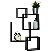 Kinbor Square Wall Shelf Set of 4, Black Floating Shelves, Perfect for Picture Frames,Collectibles,Decorative Items,Trophy Display