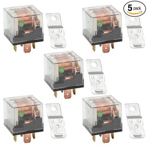 WGCD 5 PCS DC 12V 80A 1NO SPST 4 Pin Relay Car w/LED Light Waterproof Transparent Case for Car Truck Automotive
