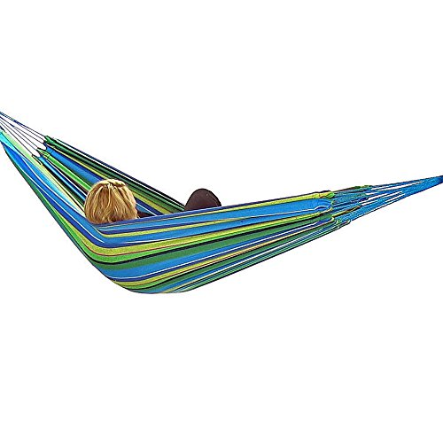 Sunnydaze Jumbo Brazilian Double Hammock, Extra Long, Large 2 Person, Portable Hammock Bed for Camping, Indoor or Outdoor Use, with Carrying Pouch, Max Weight: 450 Pounds, Sea Grass