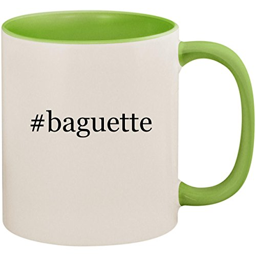 #baguette - 11oz Ceramic Colored Inside and Handle Coffee Mug Cup, Light Green