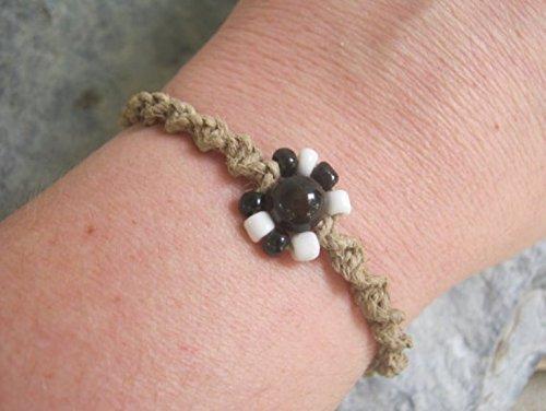 Adjustable Hemp Bracelet with Black and White Flower, Black Agate Macrame Jewelry, Handmade in USA