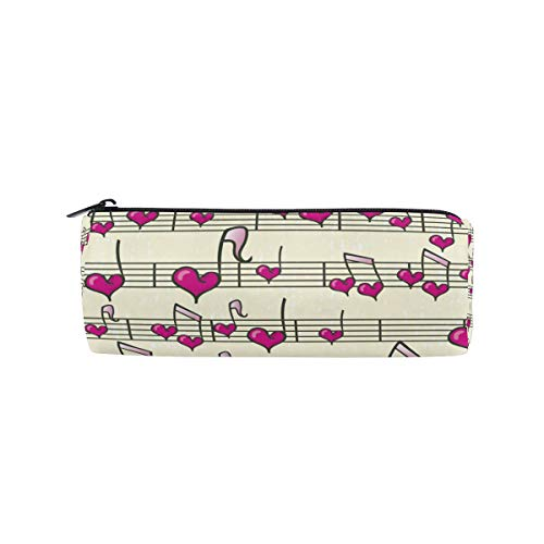 TropicalLife Music Notes Heart Shaped Pencil Case with Zipper Pen Pouch Makeup Bag for School Office - Personalized Heart Shaped Pen