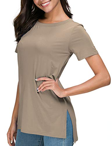 Herou Womens T Shirts Short Sleeve Casual Tee Tops Round Neck Light Coffee XX-Large ()