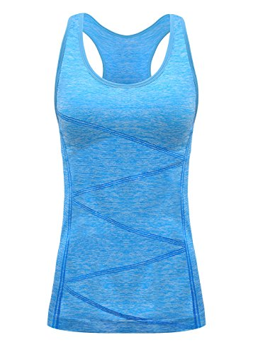 DISBEST Yoga Tank Tops for Women, Stretchy Sleeveless Shirt Workout Running Tops with Removable Bra Pads Blue L