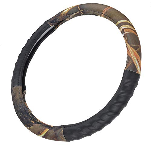 BDK Steering Wheel Cover - Synthetic Leather Cushion Side Grip - Muddy Water Camo