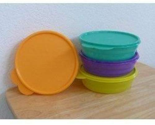 Tupperware Microwaveable Cereal Bowl Set: Passion Fruit Purple, Parrot Green, Goldenberry Orange, and Toucan Teal - Green Cereal Bowl