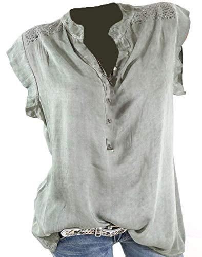 Donna Magliette Estivi Shirts Base Elegante Morbidi Mode di Marca Hipster di Accogliente Camicetta Manica Corta V-Neck Giuntura Pizzo Button Giovane Slim Fit Tops Blusa Verde