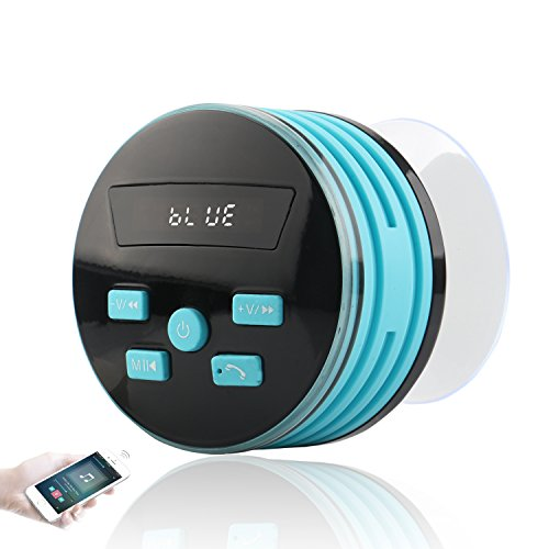 Shower Speaker, Expower IPX7 Bluetooth Speakers Shower Radio with FM, Waterproof Shower Speaker with Suction Cup, 5W Driver, Buit-in Mic, Hands-Free Speakerphone (Blue)