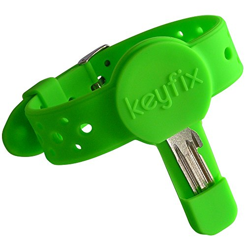 keyfix Running Key Holder XL, Fitness Activity Wristband for Keys While Running Swimming Cycling, Jogging Wrist Band Green -
