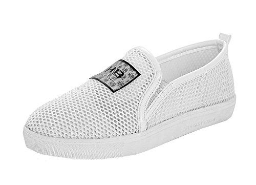 Amoonyfashion Donna Pull-on Bassi Mescola Materiali Solidi Pompe-scarpe Bianche