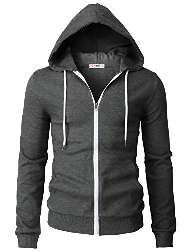 H2H Mens Casual Basic Long Sleeve Zip Up Hoodie Jacket Charcoal US 2XL/Asia 3XL (CMOHOL048)