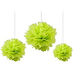 Somnr Pack of 12PCS Mixed Sizes Lime Green Tissue Paper Flower Pom Poms Pompoms Wedding Birthday Party Nursery Decoration