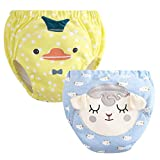Infant Young Breathable Cotton Training Pants Waterproof Dot&Animal Cartoon Potty Shorts Underwear Baby Child (12-18 Months, B-2)