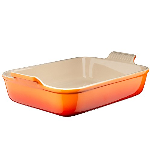 (Le Creuset Heritage Stoneware 7-by-5-Inch Rectangular Dish, Flame)