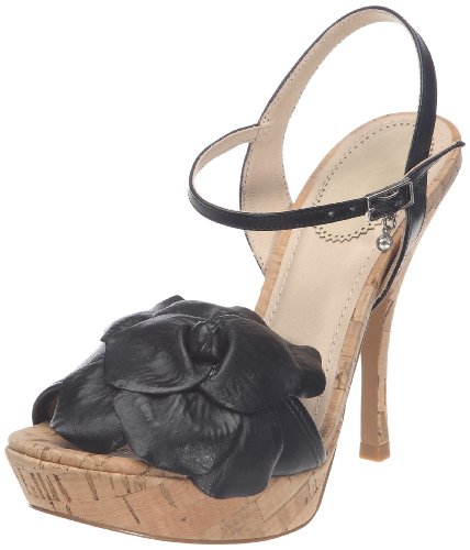 Daniel Hechter Olivia 0327 - Sandalias de vestir de cuero para mujer Negro