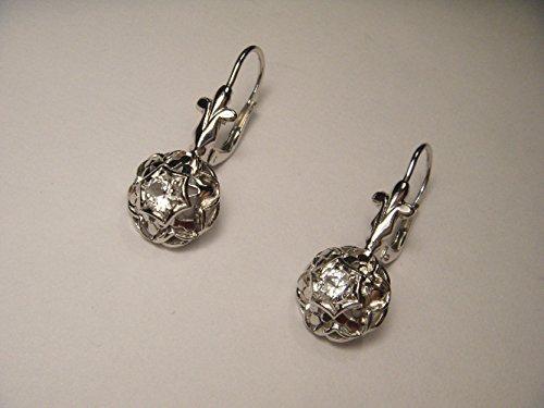 ate 14K White Gold Prong Set Diamond Drop Earrings (Estate Set Earrings)