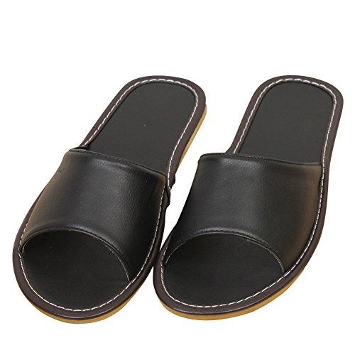 Fereshte Coppia Unisex Donna Uomo In Microfibra Leggera In Pelle Casual Scarpe Da Casa Antiscivolo Pantofola Interna Nera