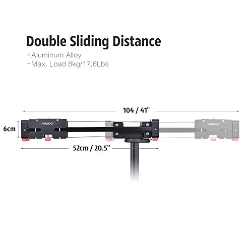 Andoer 41in Retractable Camera Video Slider Dolly Track Rail Stabilizer Load Up to 8kg Compatible with Canon Nikon Sony DSLRs Camcorders