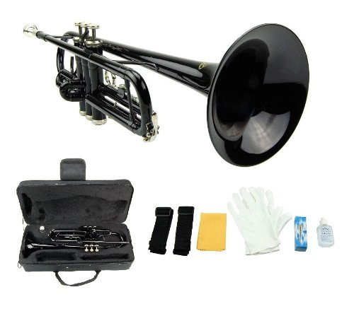 Crystalcello CWD415 B Flat Lacquer plated Trumpet with Carrying Case - Black