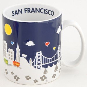 CM San Francisco Coffee Mug Midnight Puff 3D 18oz Mug SFMugola With Copyrighted CA Bear Manget (San Francisco Mugs)