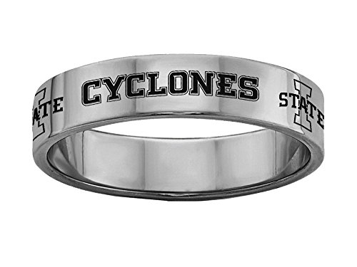 (Iowa State University Cyclones Rings Stainless Steel 6MM Wide Ring Band - Full Logo Style (6))