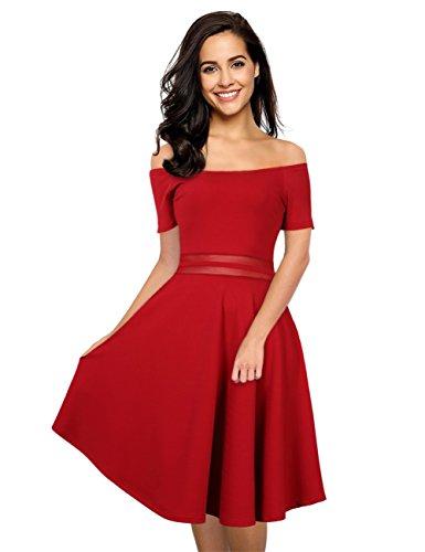 GloryStar Women Off Shoulder Slim Fit Midi Dress Cocktail Wedding Party Maxi Dress Burgundy XL