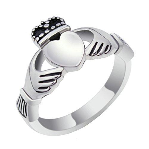 MoAndy Jewellry Stainless Steel Rings Wedding Rings Men Women Claddagh Ring Ireland Heart Crown 14kt Diamond Heart Navel Jewelry