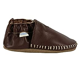 Robeez Baby-Boys Premium Leather Classic Moccasin Brown Infant Crib Shoes (Pre-Walkers), 6-12 Months