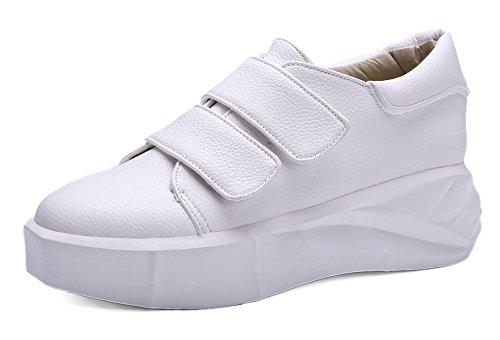 Durchgängig Sneakers Kunstleder Keilabsatz Klettverschluss Paillette Damen Basic Plateau Weiß Aisun R8XBnZx