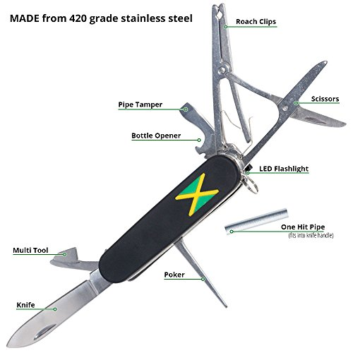 Jamaican Army Knife (JAK) - 420 Grade Stainless Steel 8-in-1 Multi-Function Smoker's Pocket Knife Tool (Function Stainless Steel Army Knife)
