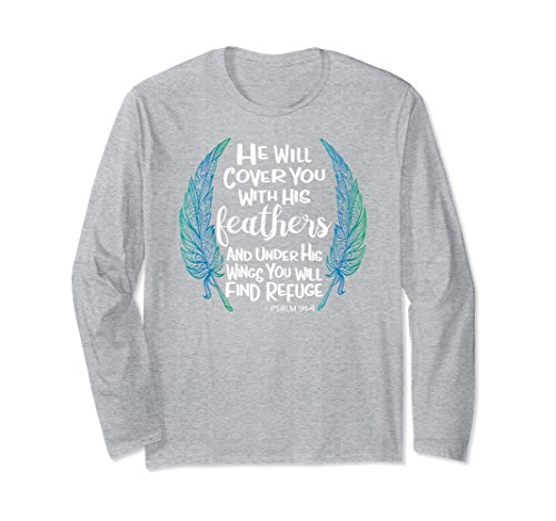 Feathers Adult T-shirt (Unisex He Will Cover You With His Feathers Long Sleeve Shirt 2XL Heather Grey)
