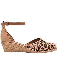 Sapato Scarpin Anabela Salto Médio Onça Conforto Eleganteria