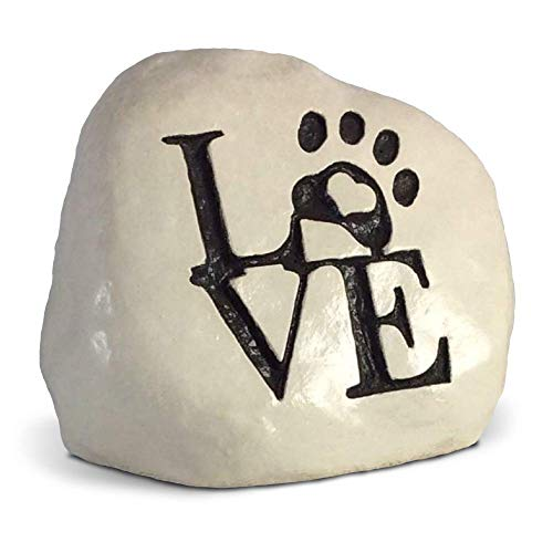 Love and a Paw Print. Engraved in a Heavy Little Rock - Packed in a Sturdy Gift Box